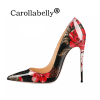 Carollabelly Stylish Women Pumps Elegant Hand Printing Pointed Toe Thin Heels Pumps Plus Size 4 14 Shoes Woman