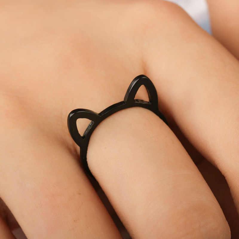 2019 oco para fora orelhas de gato anéis para as mulheres animal dos desenhos animados jóias moda chapeamento preto anel para meninas presente bonito banhado a ouro anel