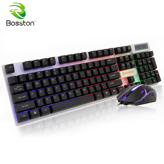 f05b8aa3694 Bosston USB Wired Keyboard and mouse set Backlight 104 Keys Mechanical Feel  Gaming Keyboards for PC Computer Laptop