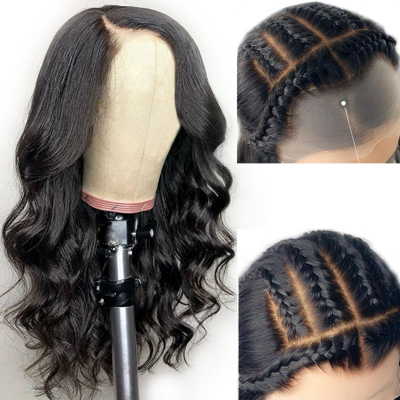 13X6 Fake Scalp Lace Front Wig Pre Plucked Bleached Knot Human Hair Lace Wig For Black Women Loose Wave Deep Part Brazilian Remy