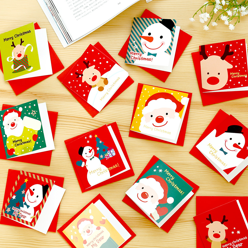 (12 pieces/lot) Cute Cartoon Christmas Card Mini Greeting Card Sets Message Card Blessing Card with Envelopes 30pcs in one postcard take a walk on the go dubai arab emirates christmas postcards greeting birthday message cards 10 2x14 2cm