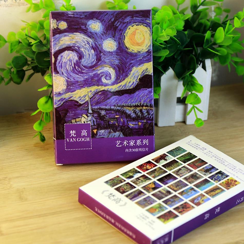 30sheets/box  Van Gogh Oil Painting Bookmarks Postcards Vintage Greeting Wish Card Fashion Gift