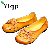 Female Vintage Handmade Genuine Leather Shoes Flat Flower Comfortable Soft Bottom Mother National Wind Flats Shoes