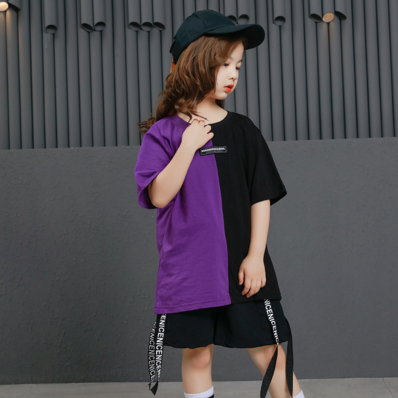Image 3 - Girls Boys Punk Shirts Purple Hip Hop Clothing for Kids Ballroom Dance Clothing Jazz Children Loose Pants Stage Costume Suits-in Ballroom from Novelty & Special Use