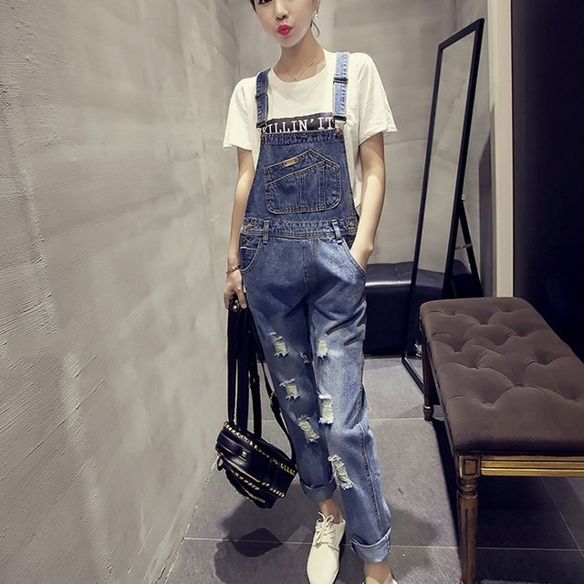 Jampelle Denim Overalls Jumpsuit Casual Women Trousers Ripped-hole Long Jeans Pants