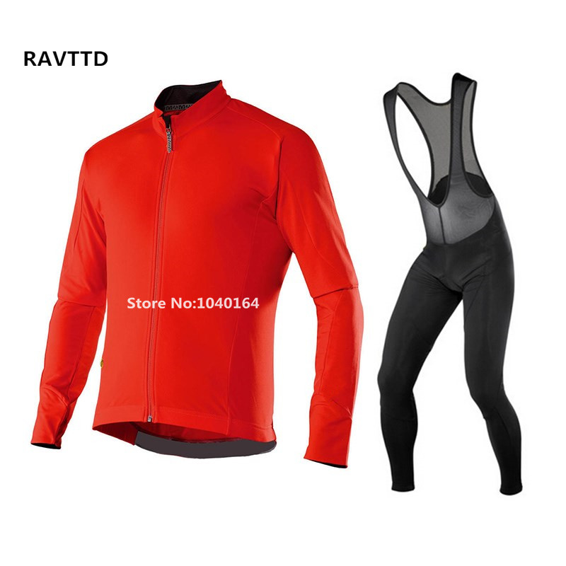 Mens Winter Cycling Clothing Long Sleeve and Cycling bib Pants Kits Winter Thermal Bike Jersey Ropa Ciclismo 5 Color