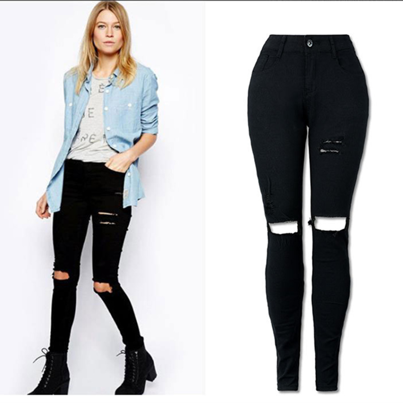 New Black Sexy   Jeans   Pancil Pants Women High Waist Slim Hole Ripped Denim   Jeans   Casual Stretch Skinny Trousers   Jeans