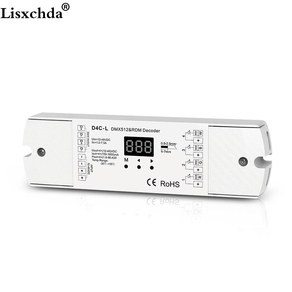 4 channel PWM current receiver DMX512 decoder led controller dmx signal driver with digital display DC12-48V input 4channel 4ch pwm constant current dmx512 rdm led decoder with digital display xlr3 rj45 port dc12v 48v input setting dmx address