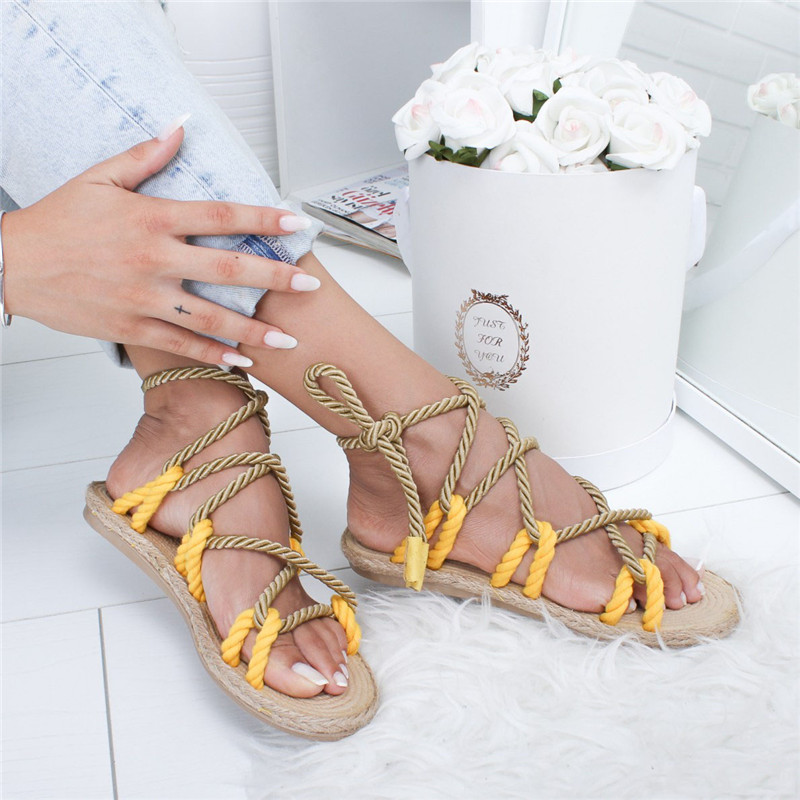 Adisputent Hot New Summer  Espadrilles Female Sandals High Heel Pointed Fish Mouth Shoes Gril Hemp Lace Up Women Flat SandalsAdisputent Hot New Summer  Espadrilles Female Sandals High Heel Pointed Fish Mouth Shoes Gril Hemp Lace Up Women Flat Sandals