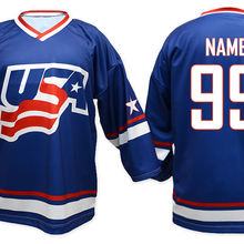 57e2b93317b Vintage Team USA WHITE bule MEN'S Hockey Jersey Embroidery Stitched  Customize any number and name