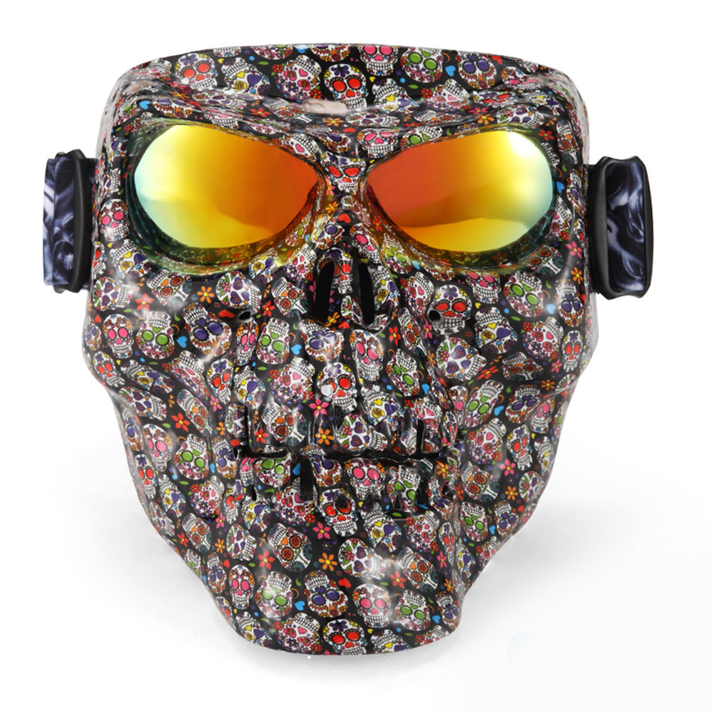 Skull Motorcycle Mask Monster Goggles Glasses Match Open Face Motorcycle Vintage Retro Helmets Outdoor Tactical War Game