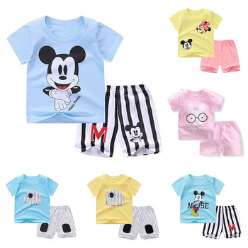 New Baby Boy Summer Mickey Clothes Infant Newborn Boy Girl Clothing Set Sports Tshirt+ Shorts Suits Girls Clothing Sets