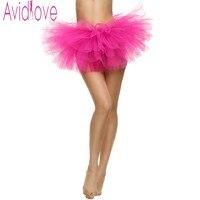 Avidlove Women Sexy Tulle Mini Tutu Skirt Sexy Petticoat Fluffy 4 Layers Yarn Ballet Skirt For