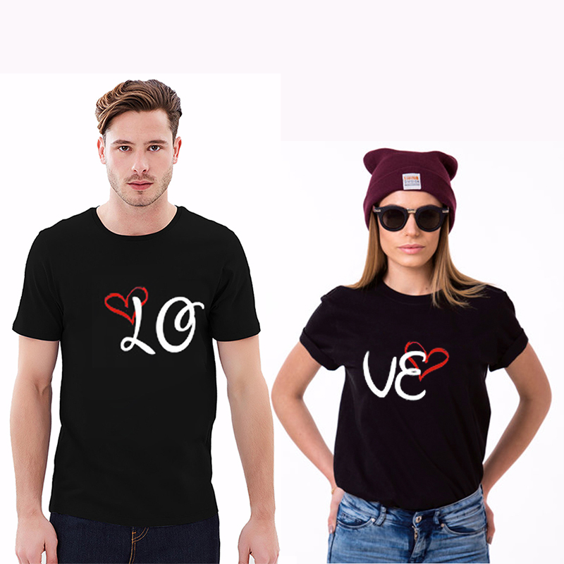 EnjoytheSpirit Love LO VE Design Couples Cute Valentines Day Mens and Ladies T Shirt Unisex Soft Cotton Good Quality ...