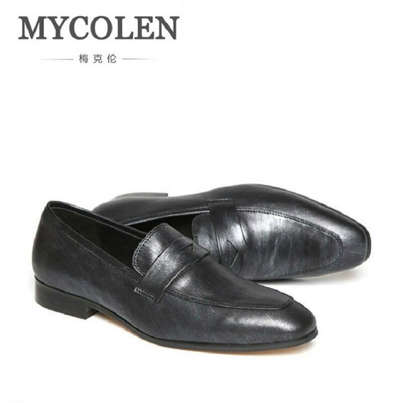 MYCOLEN England Style Men Dress Shoes Slip on Business Shoes Flats Breathable Men Wedding shoes Men Formal Footwear Zapatos branded men s penny loafes casual men s full grain leather emboss crocodile boat shoes slip on breathable moccasin driving shoes