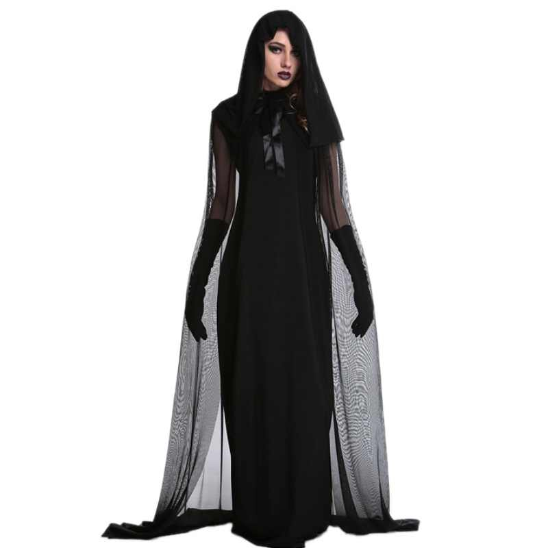 Halloween bruxa Malha longo preto Legal vampiro traje vestido da dança Traje Do estágio cantora dançarina