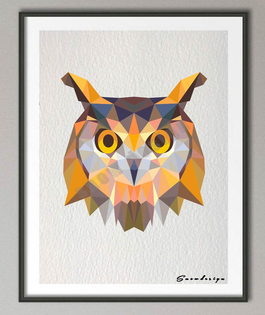 Low Poly Geometric Coral Owl Canvas Painting Wall Art Poster Print Pictures  Living Room Home Decoration