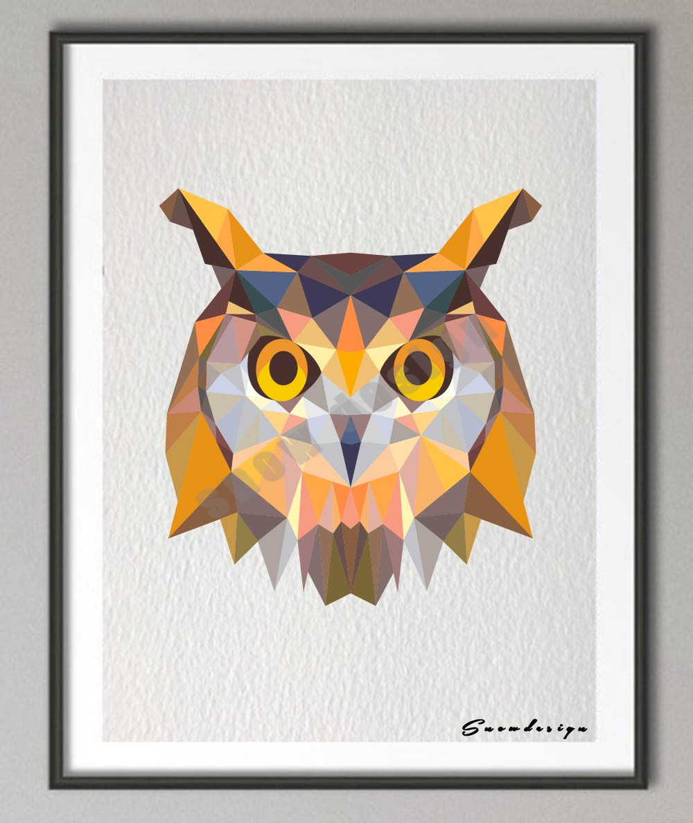 Color printing tamu - Low Poly Geometric Coral Owl Canvas Painting Wall Art Poster Print Pictures Living Room Home Decoration Wall Decor Hanging Gifts