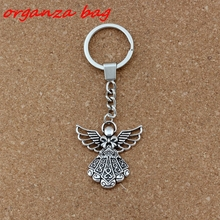 2pcs/lots Keychain Angel alloy Charms Pendants Key RingTravel Protection DIY Accessories 38.8x42.5mm Pendant A-453f