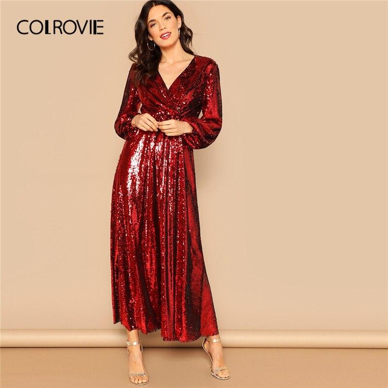 COLROVIE красный обёрточная бумага спереди фонари рукавом блесток вечернее платье женская одежда 2019 Весна Коран черный высокая талия Элегантн