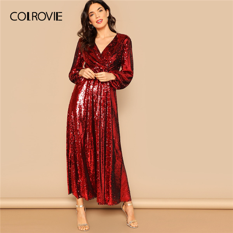 COLROVIE Red Wrap Front Lantern Sleeve Sequin Party Dress Women Clothing 2019 Spring Koran Black High Waist Elegant Maxi Dress