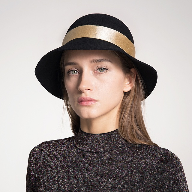 72b3ae9beda Sedancasesa wide brim cloche hats for women cut Australia wool felt hat  Autumn Winter fashion Christmas gifts ladies bucket cap