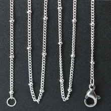 10pcs 316L stainless steel 24inch welding jumpring ball station chain necklace for living glass locket & Perfume Diffuser Locket