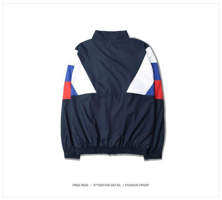 Men Jacket Gosha Rubchinskiy Classic Navy Tricolor Sport Long sleeve Windbreaker Jackets Hiphop Skateboards Couples Outwear S-XL (12)