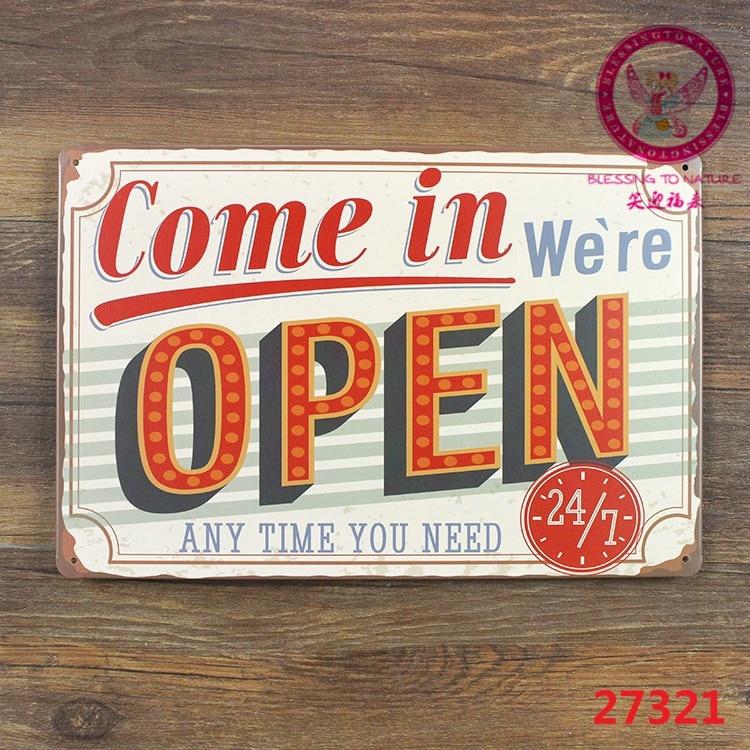 Бывают, мы открыты Домашний Декор паб таверна гараж Олово Простыни металлический знак Винтаж изображение 20*30 см