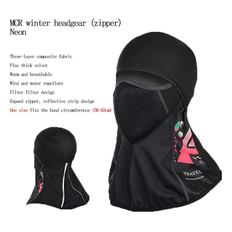 DEROACE hiver chaud capuche hommes et femmes cyclisme complet masques visage Ski froid chapeau pare-brise équipement extérieur coupe-vent chaud casque - 2