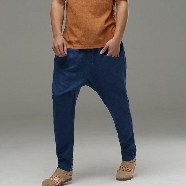 Plus size Comfortable cotton linen saggy pants men's Harem trousers high quality elastic waist drawstring Harem Pants Haren