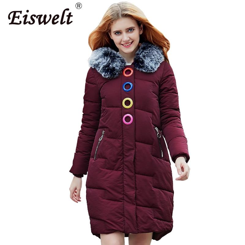 Women Coat Jacket Medium Length Woman Parka with Fur Winter Thick Coat Women 2017 New Winter Collection Hot
