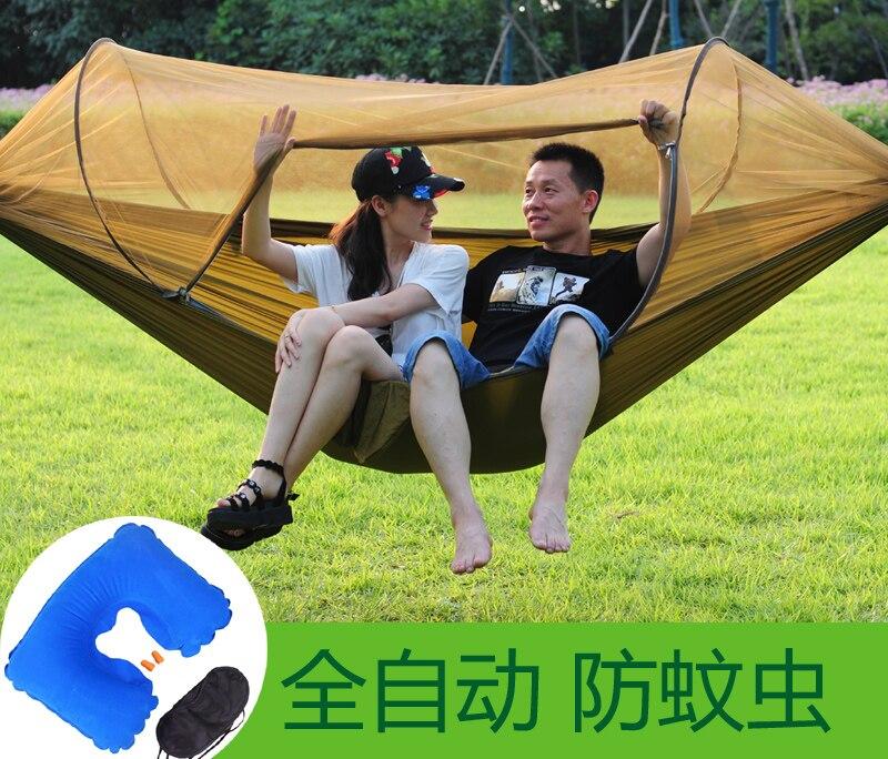 Moustiquaire automatique hamac extérieur simple-personne Double Parachute tissu Ultra-léger anti-moustiques hamac balançoire intérieure