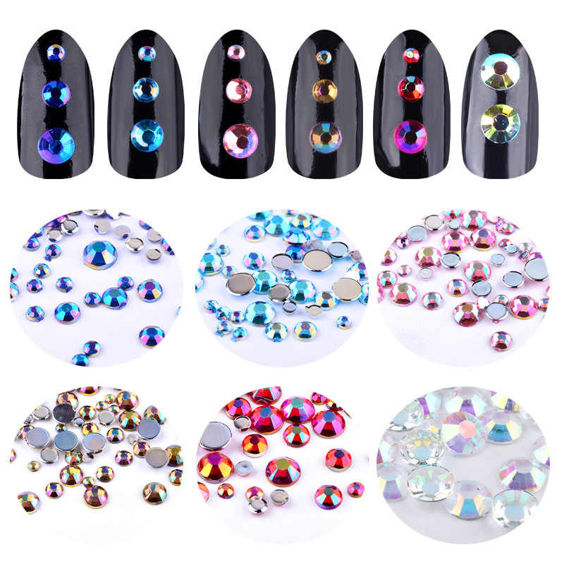 MIOBLET Colorful AB Crystal Glittter Nail Rhinestone 3D Glass Diamond Beauty Phone HotFix FlatBack Nail Art Decorations