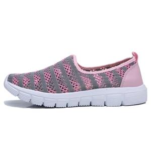 Image 3 - STQ 2020 Summer Women Shoes Women Breathable Mesh Sneakers Shoes Ballet Flats Ladies Slip On Flats Loafers Shoes Plus Size E39