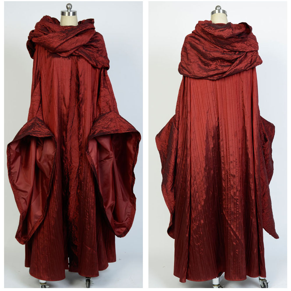 A Game of Thrones Cosplay Costume Melisandre Rouge Robe Costume de Manteau Femmes Adultes Halloween Carnaval Fête Cosplay Costume