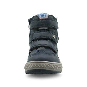 Image 4 - Apakowa/осенне зимние ботинки; Детская обувь из искусственной кожи; Однотонные ботильоны на плоской подошве для мальчиков; Модная детская обувь с поддержкой арки