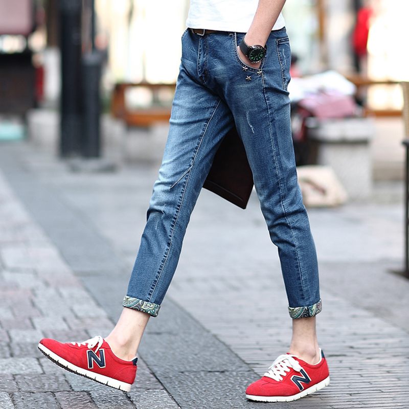 2015 New Arrival Summer Style Tide Jeans Male Plus Size Straight Pants Wearing Trousers White ...