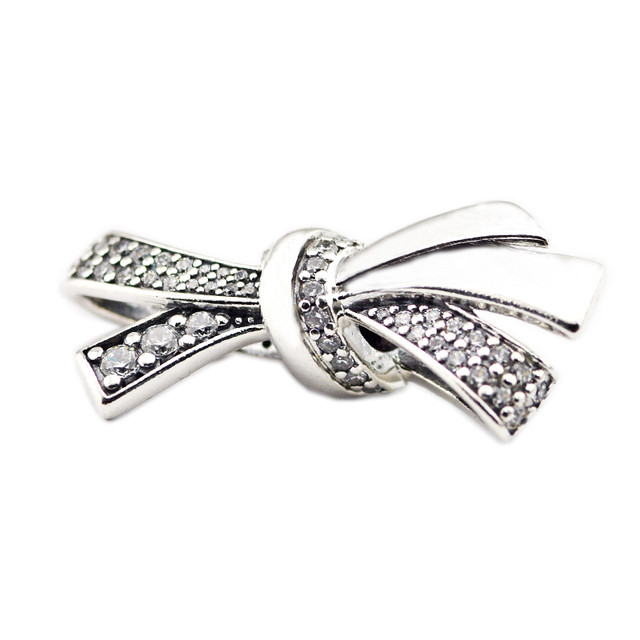 d16979653 Fits Pandora Bracelet Charms Original 925 Sterling Silver Jewelry Brilliant  Bow Charm Clear CZ Silver Beads for Jewelry Making