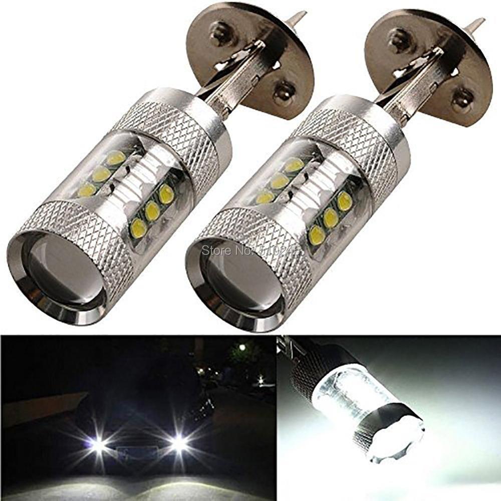 10X PNP Super bright High power LED H1 80W 16 CHIPS LED Fog Light Car Daytime Running Light DRL Bulb LED free shipping