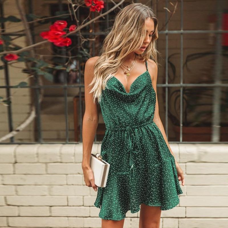 NLW Vintage Green Polka Dot Stain Dress Women 2019 Summer Sexy Strap Backless Short Dress Girl Stylish Party Dress Vestidos