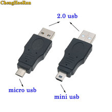 ChengHaoRan 2pcs 2.0 usb jack male To Micro/Mini USB 5 Pin Male Plug OTG Host Adapter Converter Connector