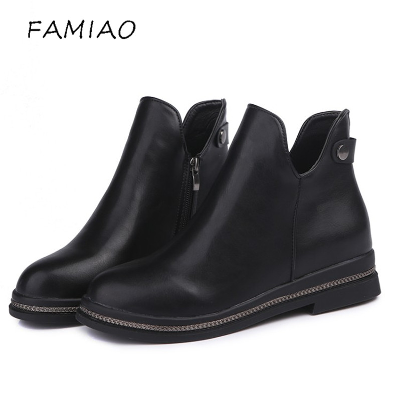 FAMIAO New Autumn Winter Fashion Boots Women Warm Shoes Lady Genuine Leather Chelsea Boots Zip Ankle Boots Breathable Black 2017 autumn fashion boots sequins women shoes lady pu leather white boots bling brand martin boots breathable black lace up pink
