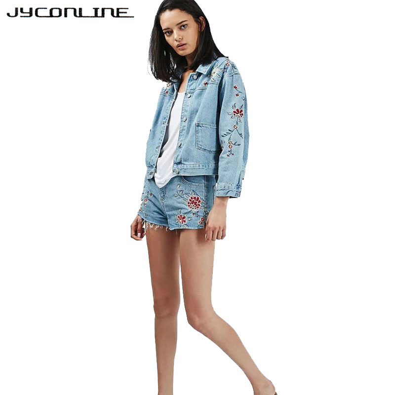 1ed5c6f5a5b8e JYConline Vintage Denim Jacket Women Floral Embroidery Streetwear Coat  Cowboy Jackets For Women Jeans Coat Blue Basic Coats Tops-in Basic Jackets  from ...