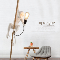 Modern Creative Design Resin Monkey Loft Vintage Hemp Rope Pendant Lights For Home Lighting Bar Cafe
