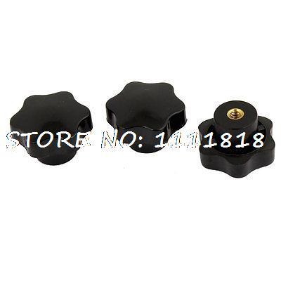 3 x Plastic 7mm Dia Thread Nonslip Fluted Knob Grip Black gold tone metal 13 32 threaded plastic fluted knob black