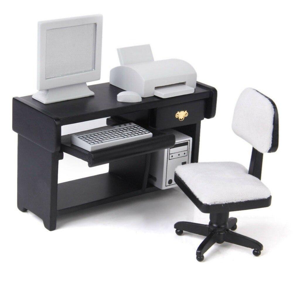 Estricto Juego De Ordenador 1:12 Casa De Muñecas Muebles En Miniatura 6 Piezas Silla De Escritorio De Madera Teclado Impresora Ordenador Host Wl014 Productos De Grado SegúN Calidad