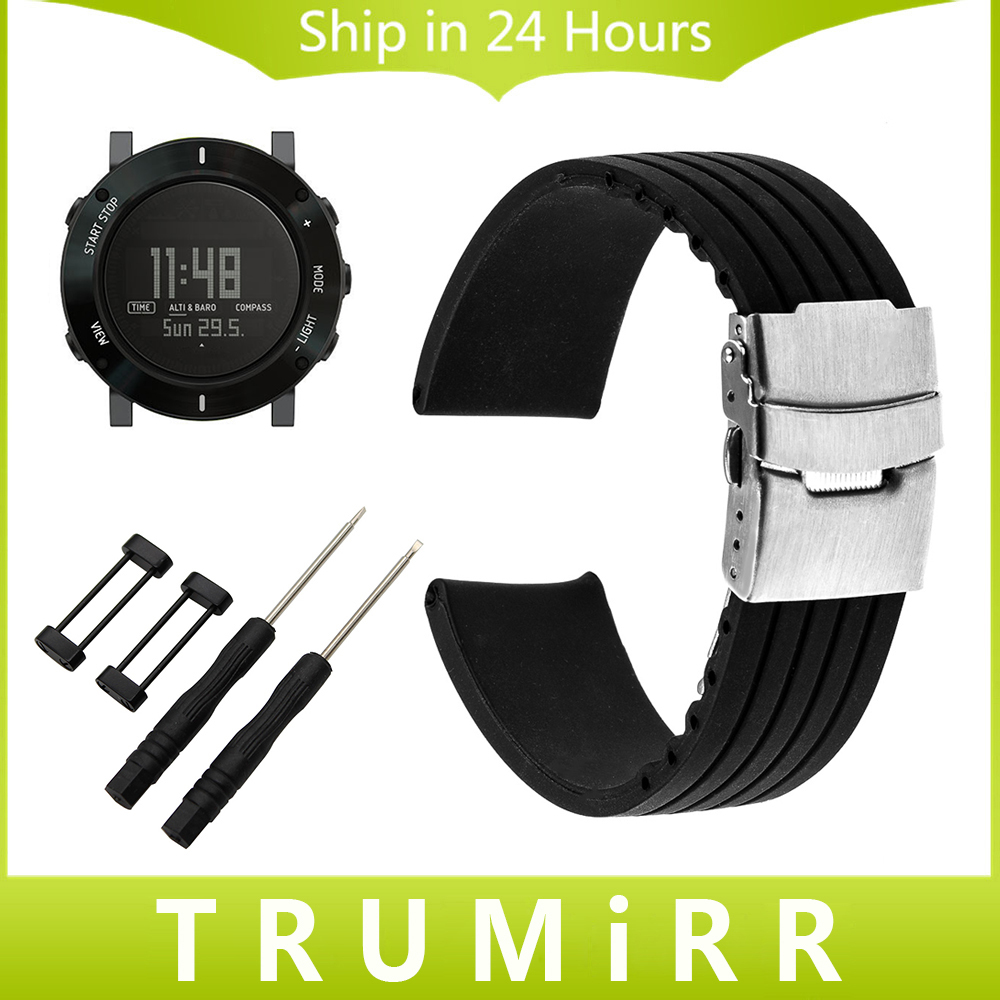 24mm Silicone Watchband Safety Buckle Strap for Suunto Core Smart Watch Band Wrist Belt Rubber Bracelet Black + Adapter + Tool 24mm italian oily leather watchband tool adapters for suunto core watch band steel buckle strap wrist bracelet black brown