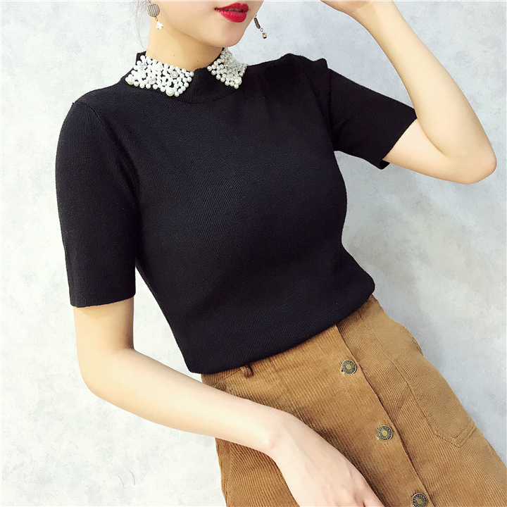ALPHALMODA 18 Summer Ladies Short-sleeved Pearl Collar Pullovers Casual Slim Knit Sweater Women Studded Fashion Jumpers 6