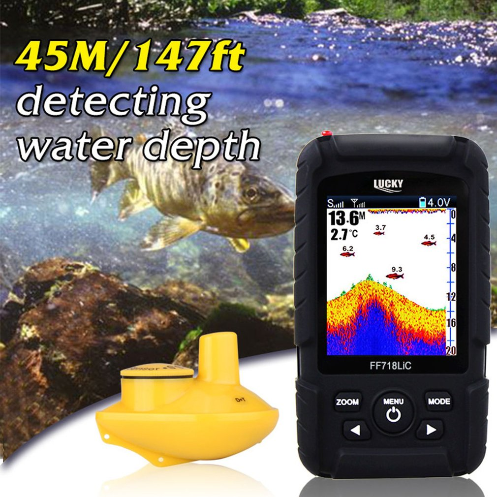Lucky FF718LiC-W Waterproof Fish Finder Monitor with LCD Colored Display Wireless Smart Sonar Sensor Fish Depth Alarm